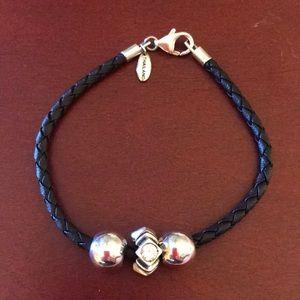 Faux Braided Leather Bracelet w/3 Chamilia Charms